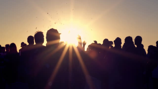 montage - crowd dancing party sunset venice beach california - sunset stock videos & royalty-free footage