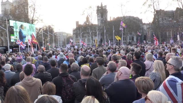 Crowd footage and vox pops from the Leave protests in Westminster on the day the United Kingdom was due to leave the European Union