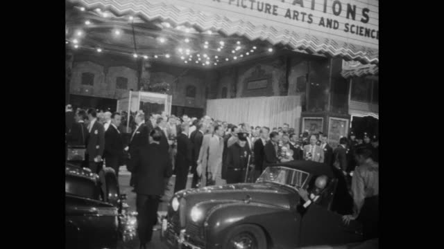 crowd gathered outside rko pantages theater during 27th annual academy awards ceremony, los angeles, california, united states of america - pantages theater stock videos & royalty-free footage