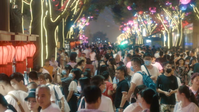 crowd in datang everbright city scenic spot,xi'an,shaanxi. - temple building stock videos & royalty-free footage