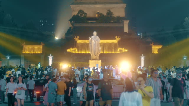 crowd in datang everbright city scenic spot,xi'an,shaanxi. - sri lanka stock videos & royalty-free footage