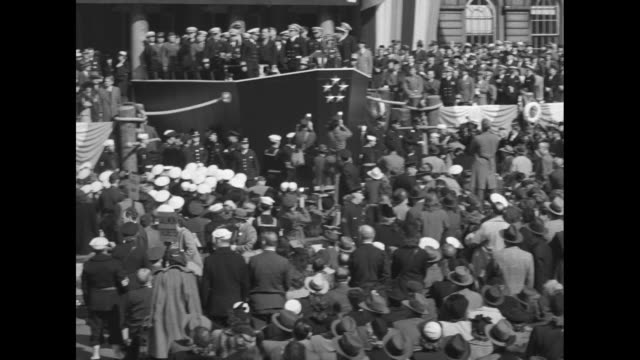 crowd in front of city hall applauding after speech by admiral chester nimitz commander in chief of us pacific fleet / pan across crowd to speaker's... - pacific city stock videos & royalty-free footage