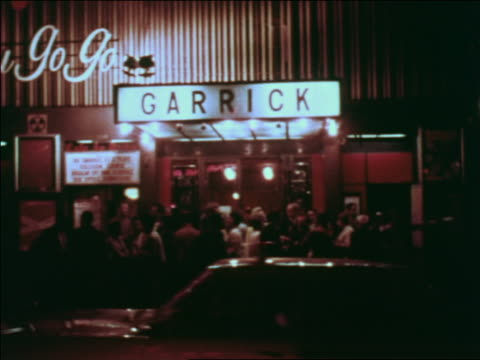 "1969 crowd in front of ""garrick"" nightclub / greenwich village, nyc / industrial - greenwich village stock videos & royalty-free footage"