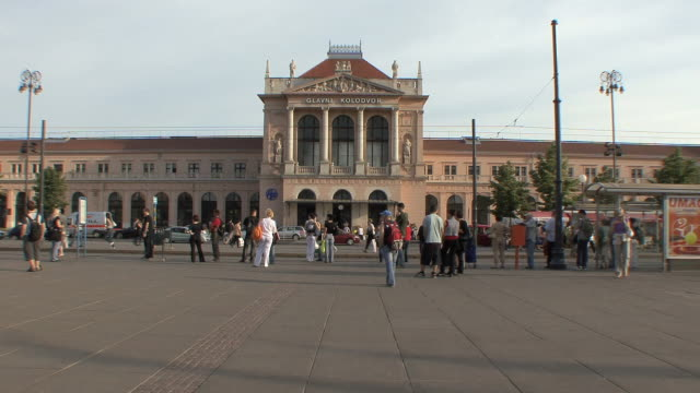 ws crowd in front of train station / zagreb, croatia - zagreb stock videos and b-roll footage