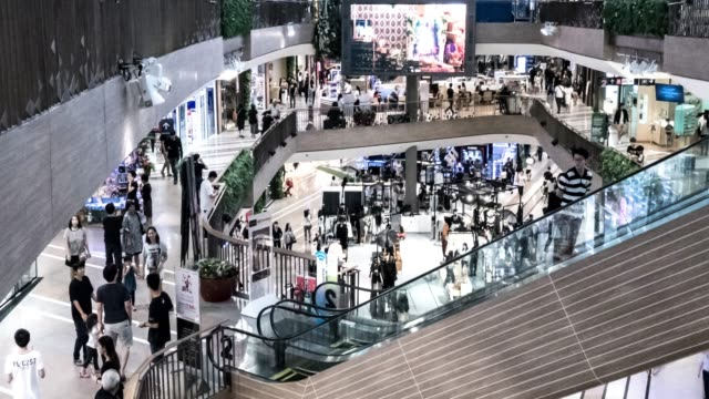 crowd in shopping mall,timelapse - consumerism stock videos and b-roll footage