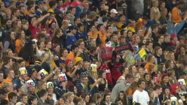 crowd in stands at forsyth barr stadium in dunedin during super rugby match between highlanders and crusaders - rugby stock videos & royalty-free footage