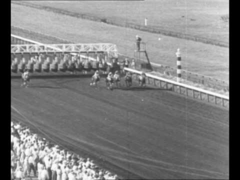 crowd in stands at horse race / horses leave starting gate approach as they head down track horse citation is in the pack / from greatest headlines... - starting gate stock videos and b-roll footage