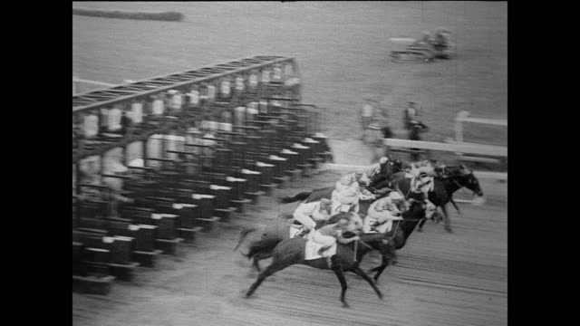 vidéos et rushes de / crowd in the bleachers at racecourse / alfred gwynne vanderbilt sitting waiting for the race / larry mcphail / j edgar hoover looking through... - maryland état
