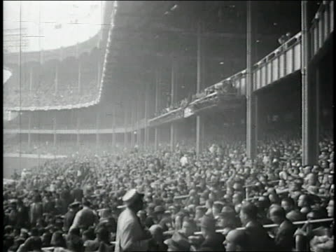 montage crowd in the stands at a ebbets field / brooklyn new york united states - ebbets field video stock e b–roll