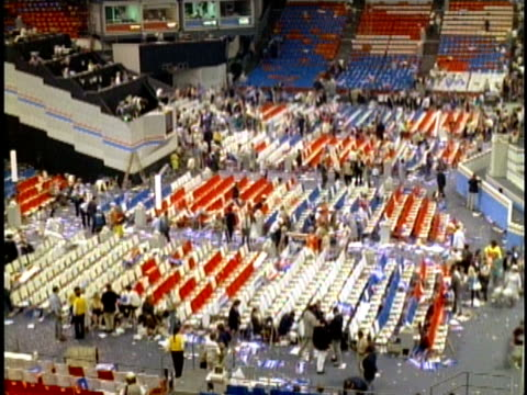 crowd leaving democratic national convention and crew cleaning floor in july 1988 / atlanta georgia usa - unknown gender stock videos & royalty-free footage