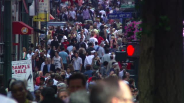 crowd near west 45th st. - artbeats stock videos & royalty-free footage