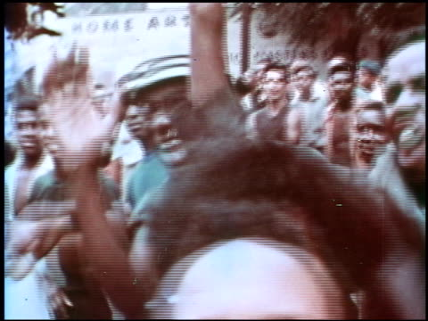 crowd of african americans shouting cheering and grabbing at camera crowd of african americans shouting and cheering on january 01 1968 - 1968 stock videos & royalty-free footage