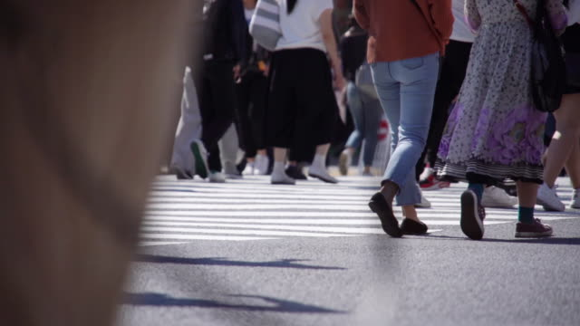 vídeos de stock, filmes e b-roll de multidão do mo de slo dos executivos na hora de rush da manhã em tokyo, japão. - sinais de cruzamento