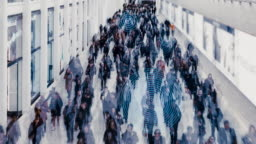 Crowd of business people walking with technology communication network and futuristic society