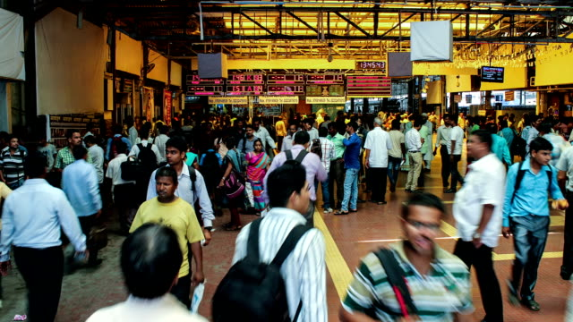 crowd of commuters at Mumbai CST station