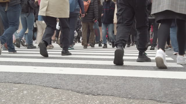 crowd of commuters crossing shibuya crossing in tokyo - human foot stock videos & royalty-free footage