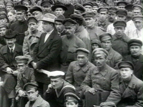ms crowd of men trotsky sverdlov and zinovyev meet workers trotsky talking to man in crowd trotsky and zinovyev pose for camera with crowd audio/... - 1918 stock videos & royalty-free footage