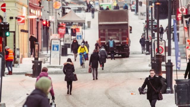 Crowd Of Pedestrians In The Commercial District Of Oslo, Norway
