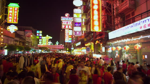 t/l ms crowd of people at chinatown street festival at night, bangkok, ayuthaya, thailand - bangkok stock videos & royalty-free footage