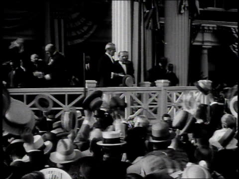 MONTAGE crowd of people cheering for Woodrow Wilson and his wife / United States