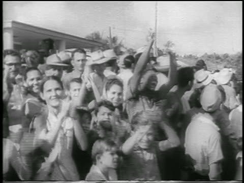 b/w 1959 crowd of people clapping cheering / postrevolution havana / newsreel - 1959 stock videos and b-roll footage