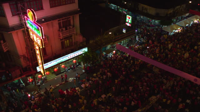 ha ws crowd of people on chinatown street at night, bangkok, ayuthaya, thailand - see other clips from this shoot 1448 stock videos and b-roll footage