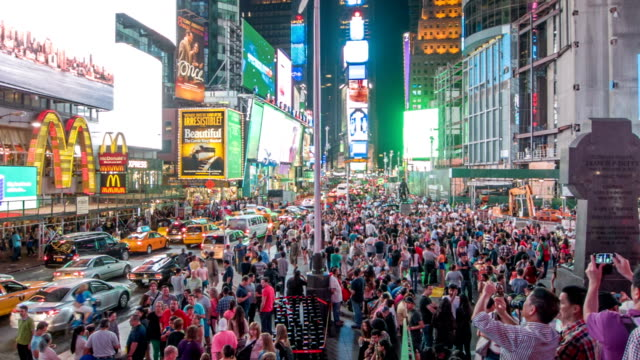 crowd of people on times square - broadway manhattan stock videos & royalty-free footage