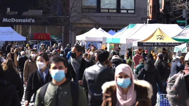 a crowd of people shop at the union square green market amidst the pandemic of covid-19. - number 3 stock videos & royalty-free footage