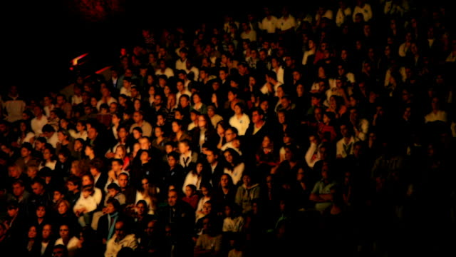 stockvideo's en b-roll-footage met crowd of people waiting for the concert beginning - theater