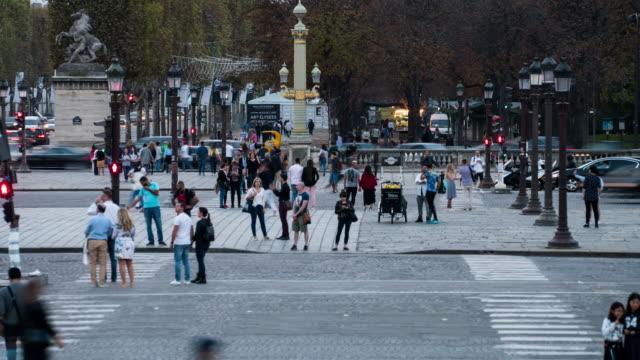 Crowd of people walking at Place de la Concorde, Paris ,Time-lapse.