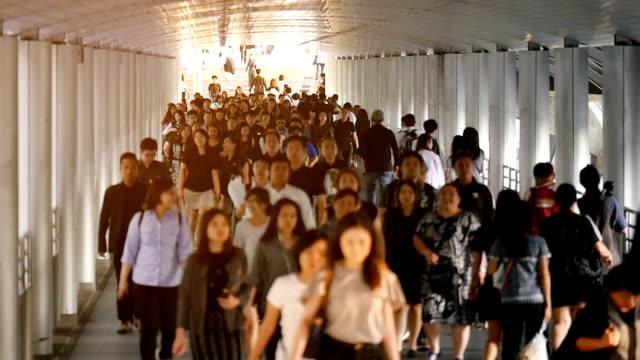 Crowd of people walking in downtown of Bangkok, Thailand