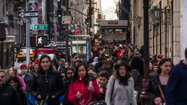 crowd of people walking in new york - crowd of people stock videos & royalty-free footage