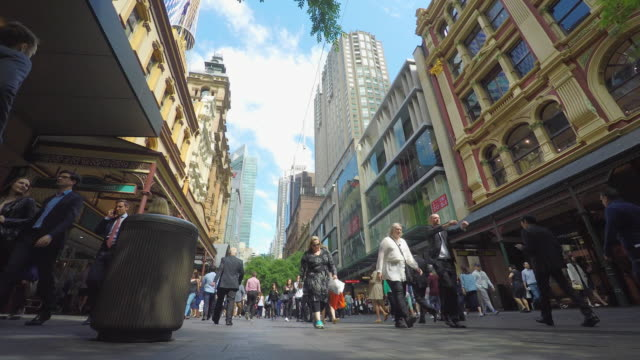 crowd of people walking in the pitt street mall in sydney - shopping centre stock videos & royalty-free footage