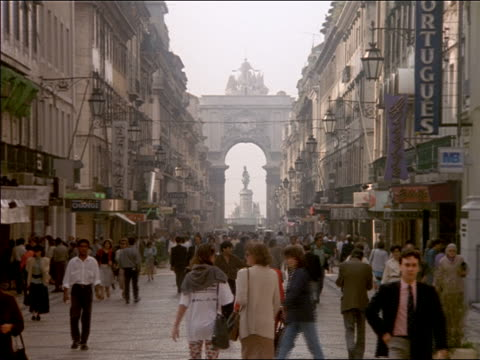 crowd of people walking on rua augusta past shops / lisbon, portugal - 1997 stock videos and b-roll footage