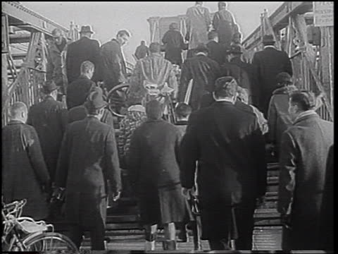 crowd of people walking up stairs onto brooklyn bridge during transit strike - 1966 stock videos & royalty-free footage