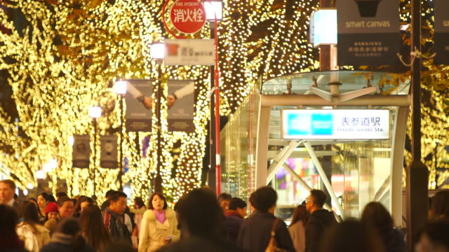 a crowd of people walks down the sidewalk beside the omotesando street station among the illuminated rows of zelkova trees and many fashion boutiques for winter holydays season in the night at kitaaoyama, minato tokyo japan on december 06 2017. - stazione della metropolitana video stock e b–roll