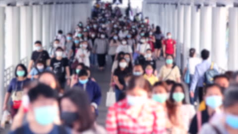 crowd of people wear face mask for protect corovavirus or covid-19 outbreak. - the human body stock videos & royalty-free footage