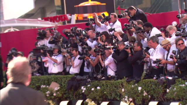 PANS crowd of photographers behind hedges taking pictures on the red carpet