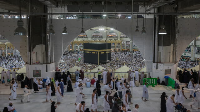 Crowd of pilgrims circumambulate around Kaaba