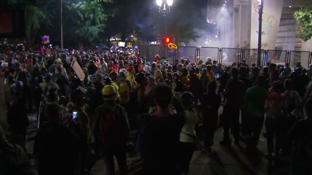 stockvideo's en b-roll-footage met a crowd of protesters and fireworks outside of the federal courthouse in portland oregon - united states and (politics or government)