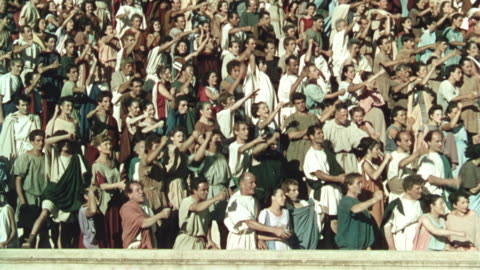 crowd of romans raising arms + chanting + cheering in arena in ancient rome / quo vadis (1951) - historical reenactment stock videos & royalty-free footage