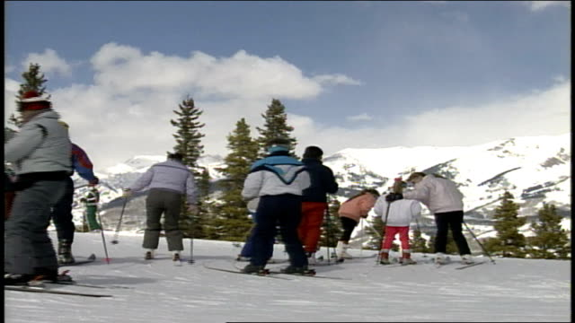 crowd of skiers in butte colorado - skiwear stock videos & royalty-free footage