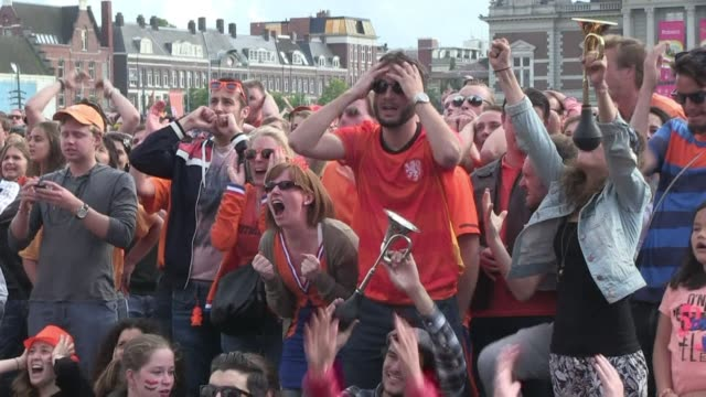 a crowd of some 45000 supporters celebrated the netherlands 21 win over mexico to qualify for the world cup quarter finals - oranje stock videos & royalty-free footage