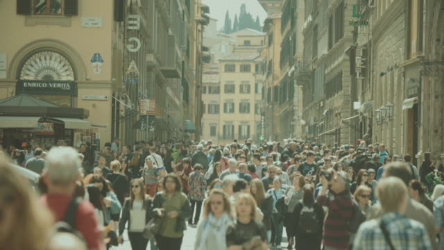 crowd of tourists in florence, italy - italy stock videos & royalty-free footage
