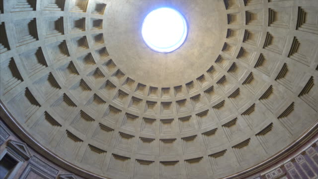 crowd of tourists inside the pantheon looking at dome, the finest remaining example of ancient roman architecture, in rome, italy - pantheon rome stock videos and b-roll footage