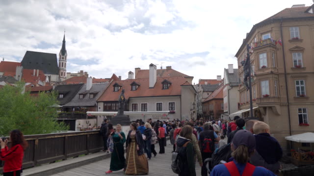 crowd of traveler in the market and shopping street in cesky krumlov town - traditionally czech stock videos & royalty-free footage
