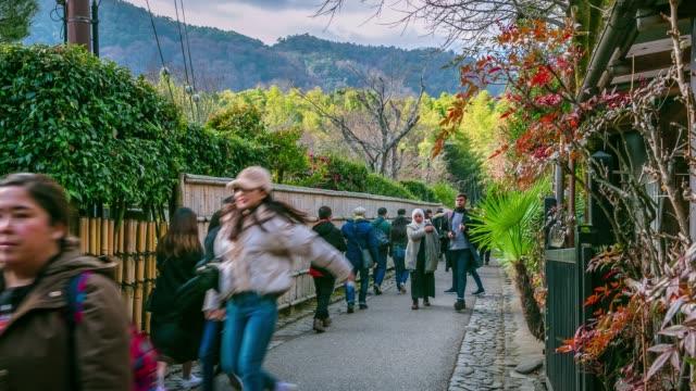 京都の自然田舎嵐山竹林を歩く旅人たちの群れ - 陸地点の映像素材/bロール