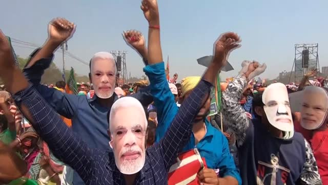crowd of up to 800,000 turns out for a state election rally by indian prime minister narendra modi, as he sought to unseat one of his fiercest... - kolkata stock videos & royalty-free footage