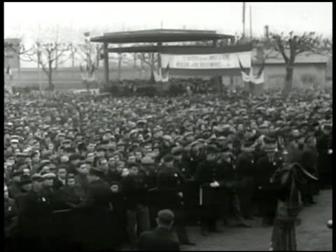 crowd of workers gathered watching ms french communist party leader maurice thorez at podium speaking vs cu old young mine workers - 1948 stock videos & royalty-free footage