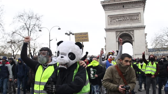 vídeos de stock, filmes e b-roll de crowd of yellow vests in front of the triumphal arch with a sign where is written ric with a man dressed as a panda tear gas - vest